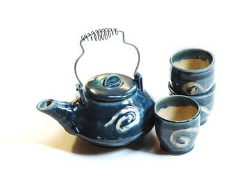 Teal teapot set,teapot with yunomi,teapot and cups,asian teapot,ceramic teapot,stoneware teapot,pottery teapot,Zen teapot,green tea teapot,