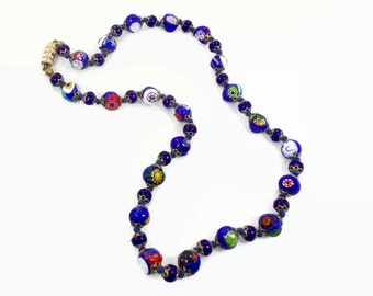 Millefiori Necklace, Glass Beaded, Venetian Beads, Cobalt Blue, Vintage Necklace, Italian, Hand Knotted, Murano, Gold Metal, Flowers