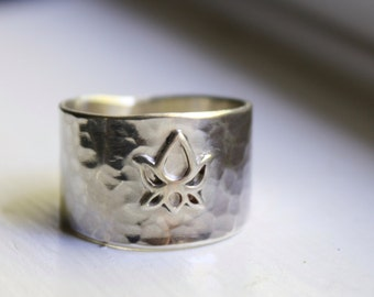 Lotus Flower Ring, Sterling Silver Ring, Yoga Jewelry, Handmade