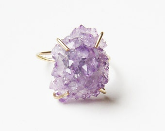 SALE Amethyst Crystal Gold Ring