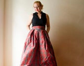 Tartan Maxi Skirt, Red Plaid High Waist Silk Taffeta Long Evening Party Skirt Pleats Pockets, Prom Skirt, Bridesmaids Skirt, Plus sizes
