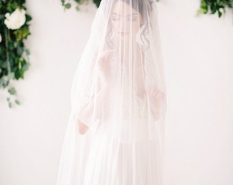 English net bridal veil with blusher, bridal veil, wedding veil