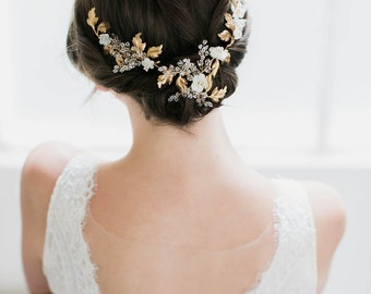AMOURETTE  Gold Wedding Headpiece with Crystals
