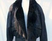 Mens Black Leather Jacket Size Small Shearling Trim Rodolfo Pellini USA