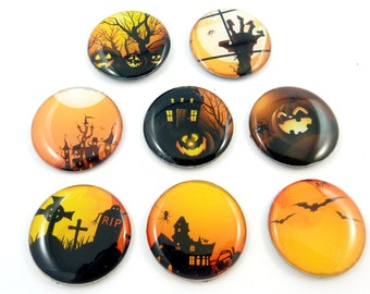"""8 Handmade NO HOLE Halloween Flat bead or Cabochon.  LARGE 1"""" or 25 mm Round. Handmade By Me. Jack-o-lantern, Haunted, House, Bat, Tombstone"""