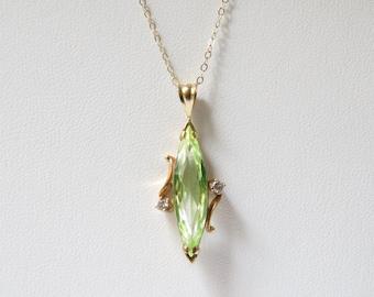 Vintage 14k Gold Diamond and Green Topaz Pendant Necklace