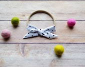 White with Black Polka Dots Hand-tied Simple Fabric Bow Nylon Elastic or Alligator Clip
