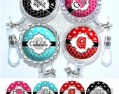 Retractable Id Badge - Personalized Quatrefoil and Fleur de Lis Badge Reel in 9 Colors, Bling Badge Reel (A012)