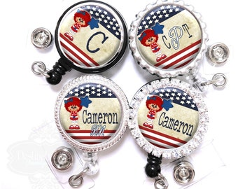 Stars and Stripes Badge Reel - Personalized Patriotic USA Doll Retractable Lanyard ID Holder with Name , Monogram, Occupation Title (A250)