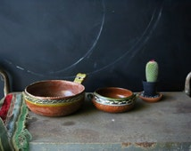 Two Antique Mexican Bowls Hand Painted Bohemian Decor Look Like 40s Maybe Earlier From Nowvintage on Etsy