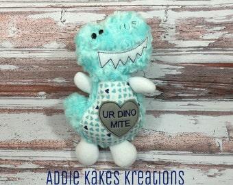 Valentine's Day Dinosaur / You're Dinomite! / Stuffed Animal / Valentine's Day Gift / Plush Dinosaur / Plush Dino / Stuffed Dinosaur