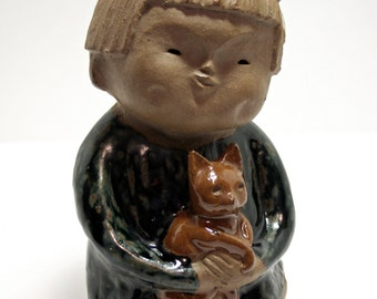 Pottery Child Sculpture, Japanese Clay Pottery, Vintage Japan, Earthenware Figurine, Child Holding Cat, Brown Pottery, Sweet Child, Moosemom