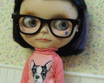 Boston Terrier Turtleneck sweater shirt for Blythe in Peach 4