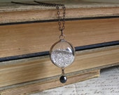 Silver Glass Glitter Blown Glass Orb Necklace Sparkle Jewelry