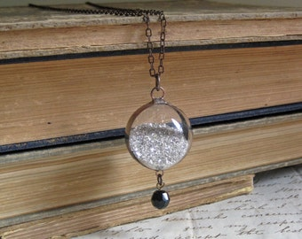 Silver Glass Glitter Blown Glass Orb Necklace Sparkle Jewelry