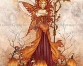 Pumpkin Queen autumn fall 8X10 PRINT by Amy Brown