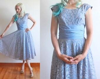 """1950s dress / 50s blue lace dress / 1950s party dress / size xs - s / bust 34"""" waist 25"""""""