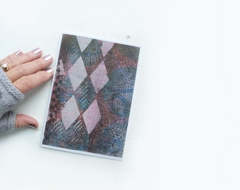 Painted Greeting Card-  Pink Argyle