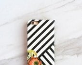iPhone Wallet Case Floral Stripes 7 / 6 / 6S / Plus Case With Card Holder, Preppy