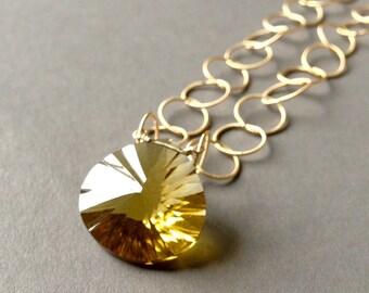 Large Laser-Cut Convex Citrine Briolette Necklace