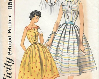 Simplicity 2548 1950s Sleeveless Shirtwaist Dress with Full Skirt Vintage Sewing Pattern Size 14 Bust 34 Square Neck Peter Pan Collar