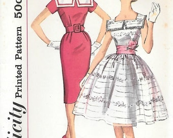 Simplicity 3453 UNCUT 1960s Cocktail Dress with Two Skirts Vintage Sewing Pattern Size 12 Bust 32 Square Neckline Collar