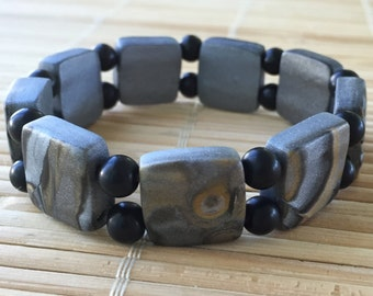 Rustic Metallic and Black Polymer Clay and Glass Stretch Bracelet  - Beaded Jewelry for Woman or Man