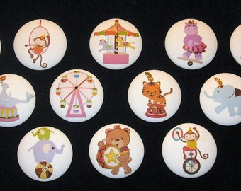 Pick Your - Set of 8 - CIRCUS DESIGNS with GLiTTER - Drawer Knobs - You Pick Your 8!!