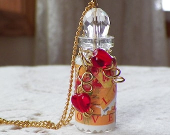 Hand and Bouquet Love Stamp Decoupage Mini Glass Bottle Necklace / Pendant, Red Hearts, Decoupaged Postage Stamps, Love Stamp / Love Stamps