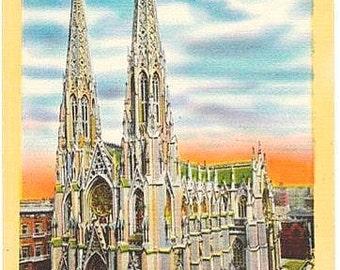Vintage New York City Postcard - St. Patrick's Cathedral (Unused)