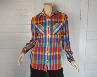 70s / 80s Rainbow Plaid Shirt- 1970s Madras Seersucker Blouse- Western / Cowboy- 70s Country Disco