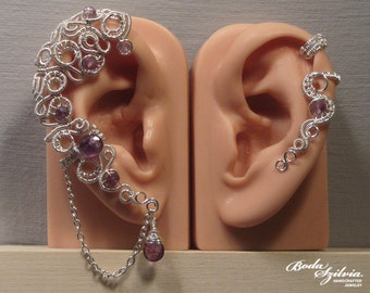 Amethyst ear wrap and cartilage EAR CUFF SET - ooak ear wrap, adjustable ear cuff, no piercing ear cuff, elegant jewelry, amethyst jewelry