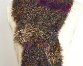Cozy Black - Crochet Multicolor long Scarf