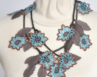 Blue Lace - Blue and Brown - Embroidered Lace Flower and Leaf Lariat