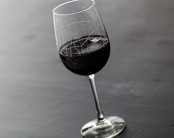 San Diego Map Wine Glass