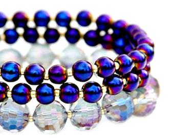 SUMMER SALE Purple Haze Crystal Bracelets Rainbow Shimmer Set of Three Stacking Stretch Bracelets High Fashion Flare Modern Style