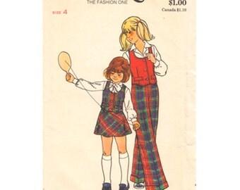 Girls Retro Vest, Flared Skirt & Pants Pattern Butterick 3875 Waistcoat Trousers Girls Size 4 Vintage Sewing Pattern