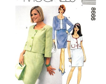 Jacket & Skirt Pattern McCalls 8666 Jackie O Unlined Boxy Jacket Button Front, Skirt Suit Womens Sewing Pattern Size 4 6 8 UNCUT