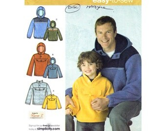 Mens & Boys Jacket Pattern Simplicity 3651 Hooded Pullover Parka Warm Fleece Top Pockets Boys/ Mens Easy Sewing Pattern Size S M L XL UNCUT