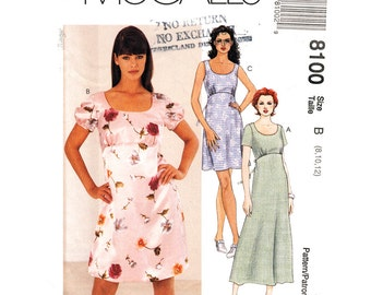 Empire Waist Dress Pattern McCalls 8100 Scoop Neck Dress Two Lengths Sleeveless or Short Puff Sleeve Women Sewing Pattern Size 8 10 12 UNCUT