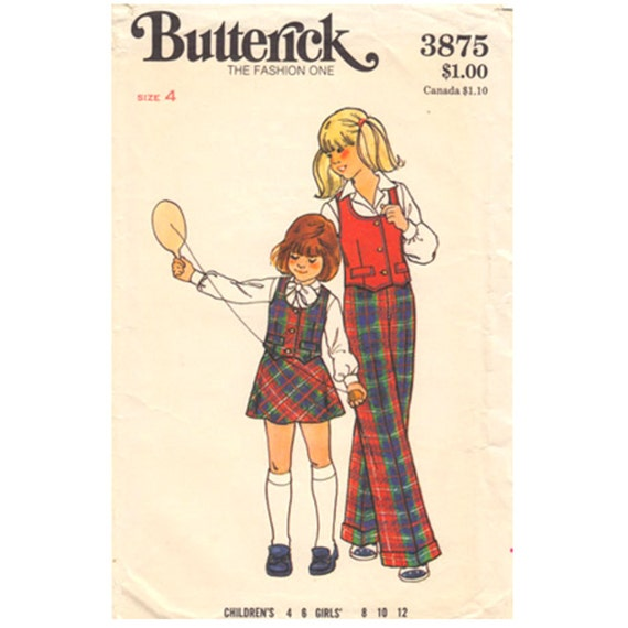 Girls 70s Vest, Flared Skirt, Pants Pattern Butterick 3875 Waistcoat Trousers Size 4