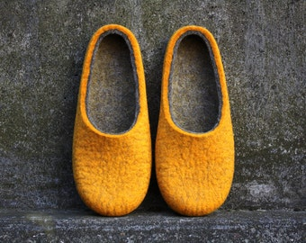 Sunny day every single day   Felted wool slippers by Onstail handmade to order