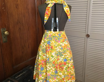 1970s yellow floral maxi skirt and matching scarf