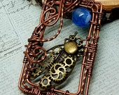 Steampunk Cicada Necklace copper Wire Wrapped Vintaj Twisted Square Wire Gears Mixed Metals