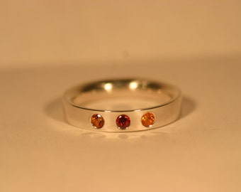 Custom Silver Mothers Ring with Flush Set Gemstones - Made to Order (1 to 6 Gemstones)