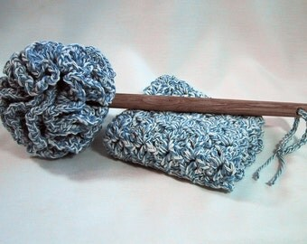 Country Kitchen Set - Dish Mop & Dish Cloth - Handmade Cotton Yarn in Blue/Ecru Twist Color - Great Housewarming Gift - The Perfect Set!