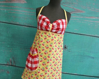 Women's Apron - Yellow & Red Cherries - READY TO SHIP
