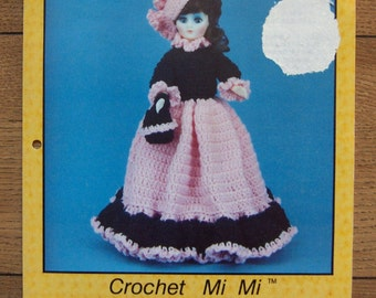 Vintage 80s crochet pattern MI MI dress hat purse doll clothes  15 inch fashion doll