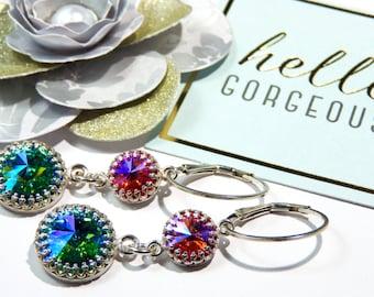 Fine Jewellery Sterling Silver Swarovski Crystal Crown Bezel Earrings-REDUCED