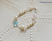 Cream Aquamarine Swarovski Pearl Wire Wrapped Bracelet- handcrafted- gift for her, wedding, bridesmaid, maid of honor, anniversary